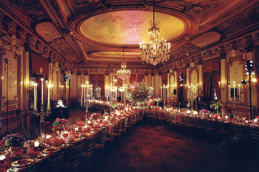 We'll take a finished ballroom or a modern loft and tailor it to your special party.  For a Valentine's wedding we set this venerable club in a manner never seen before. Photo: Vincent Ricardel