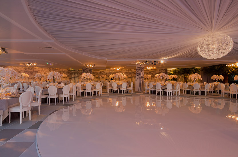 Here, an empty office building provides a canvas on which we design the wedding of your dreams. Photo: Arnold Brower