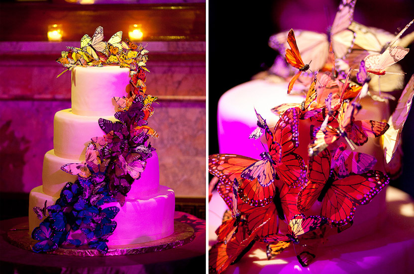 Silk butterflies re-appear as ombre cake décor.