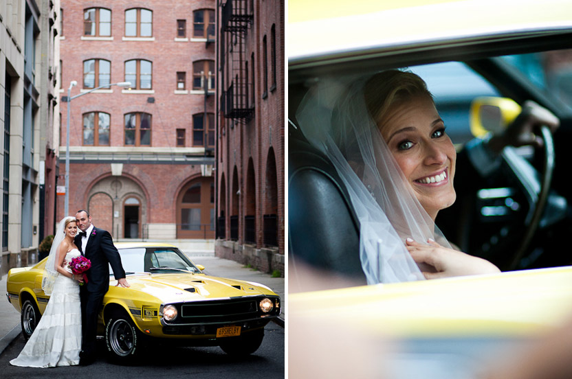 We orchestrated the unveiling of the day's best surprise, a muscle car for the wedding day.