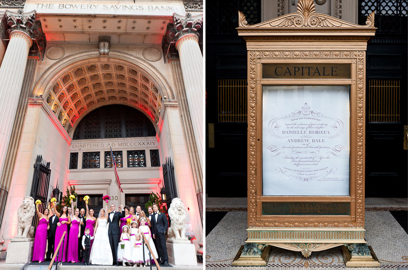 The setting is a grand old bank building, set amongst the gritty streets of New York City' Bowery district. We had the invitation enlarged to poster size for the building's original bank marquee. A distinctive way to greet guests.
