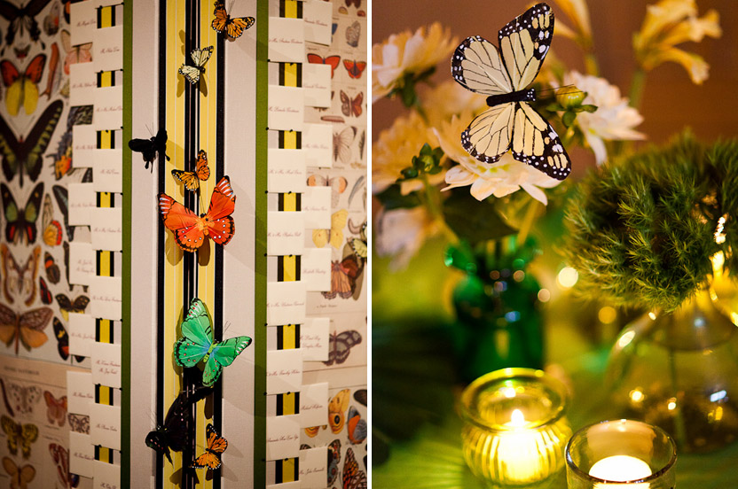 The bride's love of butterflies punctuated the night. The escort cards were posted on folding screen peppered with butterflies while the huppah had them suspended and the cocktail and dinner flowers had them hidden amongst the blooms.