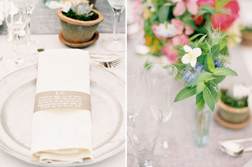 Pewter chargers and vintage plates are complemented by our ingenious paper menu napkin rings.