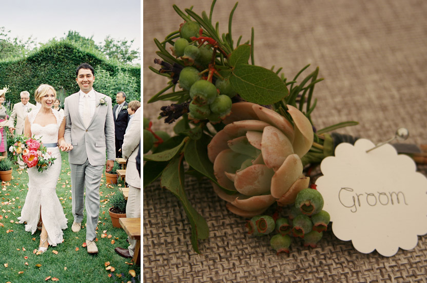"I re-oriented the ceremony to include some of the Hampton's famous tall hedges. A perfect backdrop. These ""hens and chicks"" succulents capture the steely gray color the couple loves, and also speaks to the terrain of Texas, a nod to the groom."
