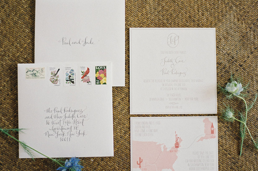 We took great care in developing the stationery suite. Hand calligraphy, a custom monogram, traditional English wedding wording and vintage stamps were some of the details that were incorporated for this couple.