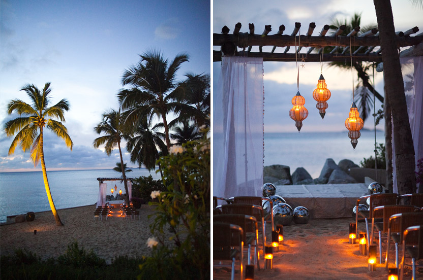 I took advantage of an existing day bed structure as a breathtaking ceremony backdrop. Organdy curtains edged in tiny seashells, wicker lanterns and my silver gazing balls provide the necessary shine for this twilight ceremony.