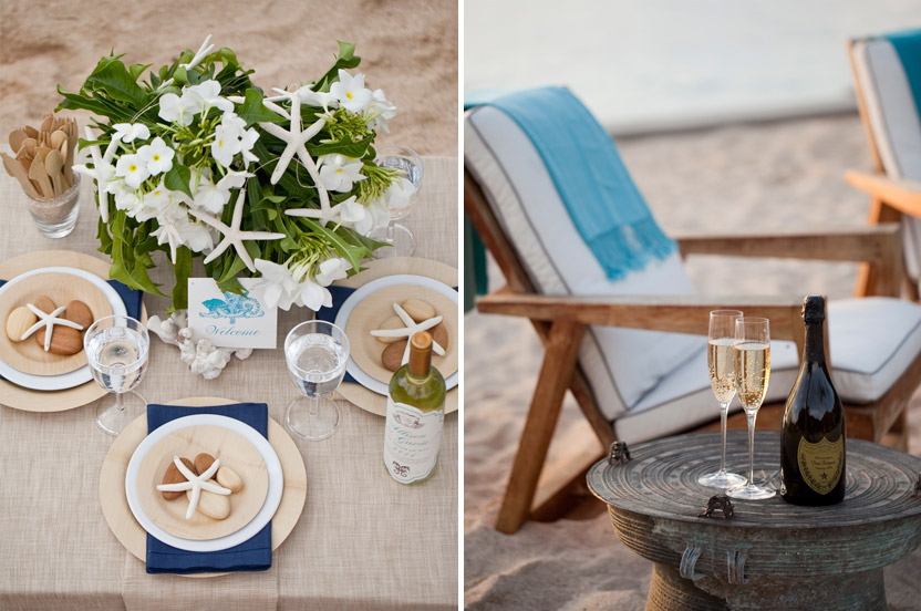 "Disposable bamboo plates, cutlery and ""stones"" to hold down fly-away napkins complete the look. I added pashminas for a breezy evening in the colors of the sea to enhance the existing neutral beach furniture."