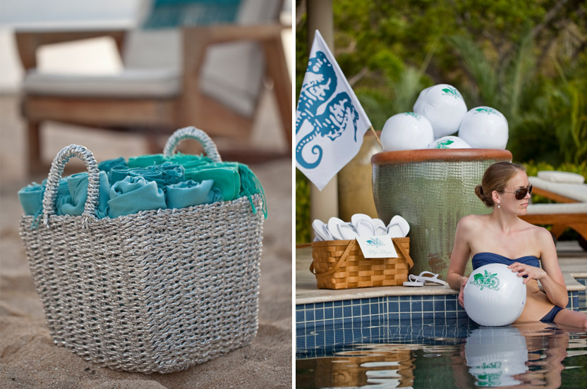 There are very few metallics on property, so even when judiciously used, they add a special sparkle. Before arriving I took care to pre-order signage for the flip-flops on offer, and to bring along fun favors like custom beach balls and a nautical flag we used again for a boat trip.
