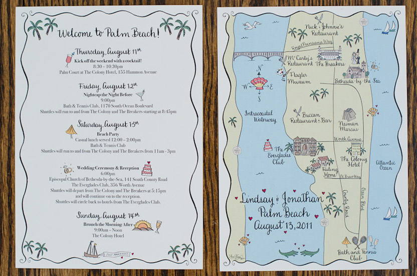 At each hotel and numerous private homes we delivered beach bags with personalized candies, treats, hats, beach balls, waters and this illustrated map of Palm Beach and itinerary. The personalization, assembly and delivery took our team two days to complete; our check list had dozens of items on it.