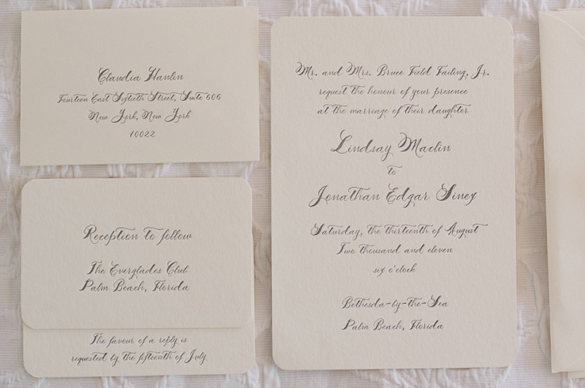 The bride wanted a classic wedding invitation that was just a little different. I designed these traditional letterpress cards in a soft gray with hand calligraphy. I had the calligrapher address them in the same color; the RSVPs came back to my office.