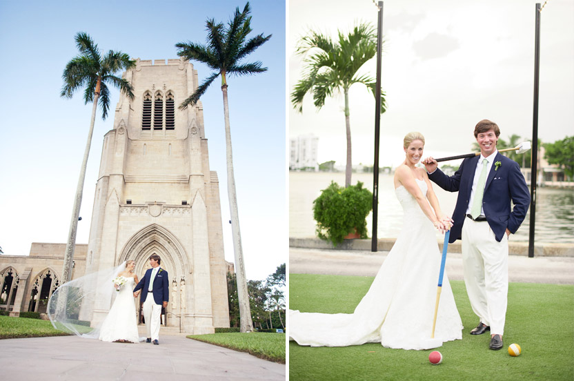 The magnificent cathedral has a cloistered garden that makes you consider that you're in a tropical, secret, gothic paradise. After the ceremony the couple playfully posed on the Club's croquet court for a few sweet shots.