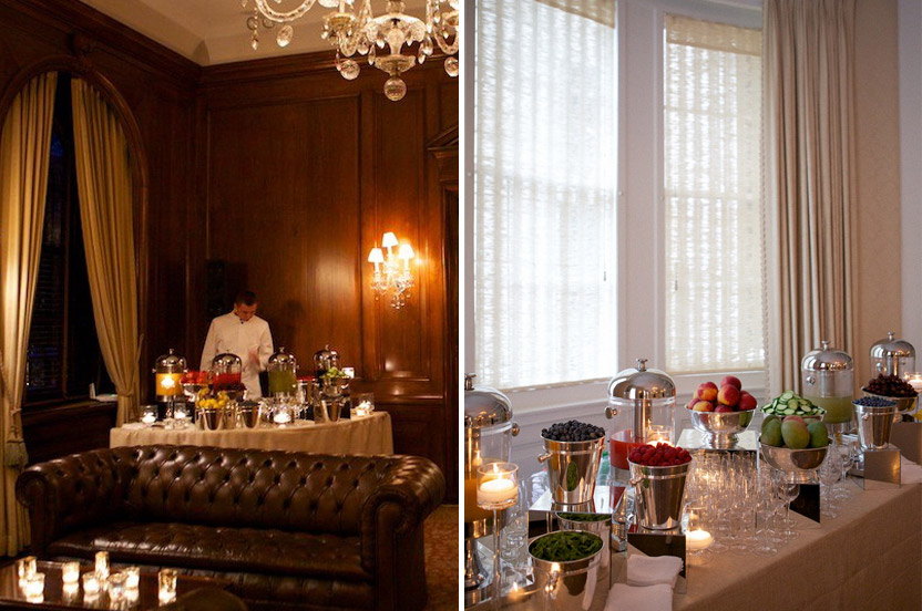 The Beaux Arts mansion that held the reception is ready with a fresh juice bar.  It was inspired by a restaurant I had visited with the couple.