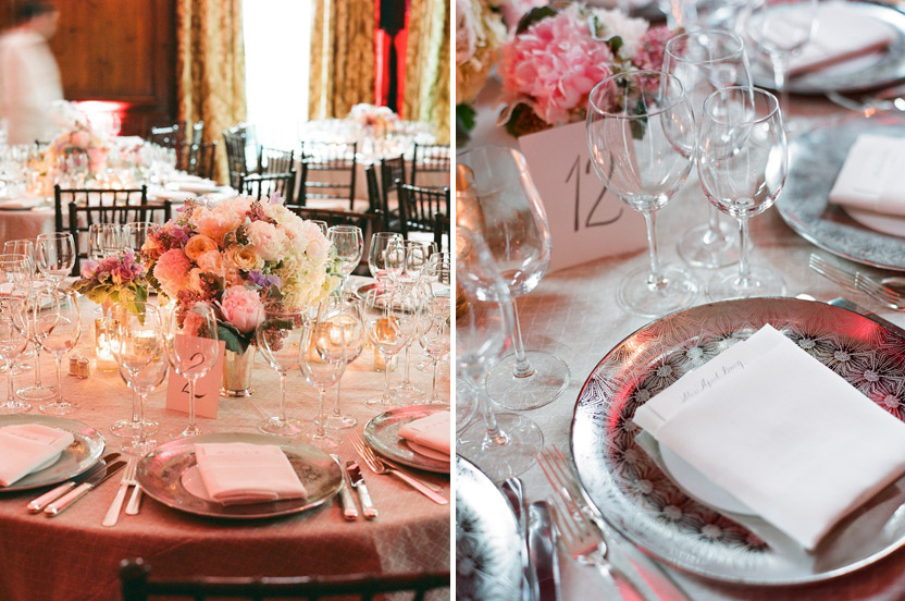The delicate hues chosen for this event were carefully chosen. The dining room was cozy, so having low arrangements, light linens and removing heavy paintings from the wall made the room fresh and romantic.