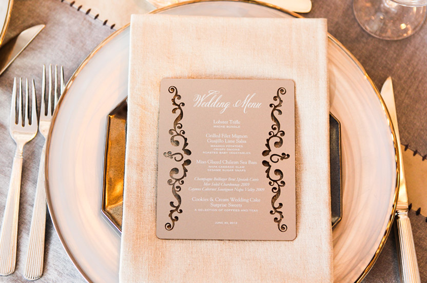 To finish the look I commissioned laser-etched menu cards. The table numbers have the familiar border, duplexed on the reverse with the forest motif.  Silver painted cocktail napkins ensure that no detail is overlooked.