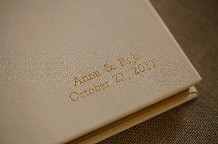Guests from around the world left love notes in our gilded, personalized guest book.