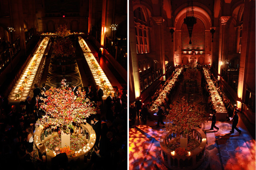 Proving that great lighting transforms a space, the long banquet tables look magical from the balcony.