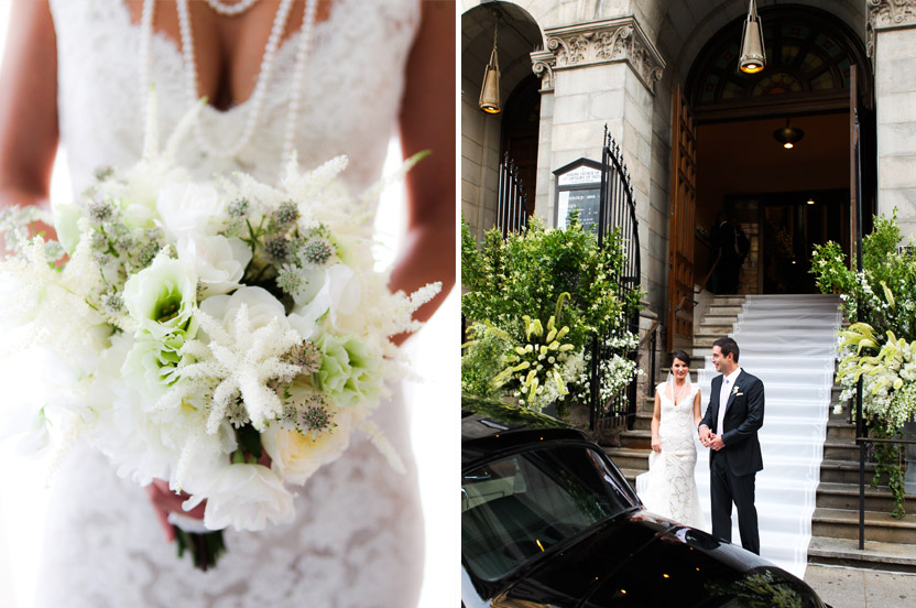 The bride's dress was dramatically set off with long strings of pearls and a dramatic yet feminine bouquet. We welcomed guests with enormous urns of greens at a gritty SoHo locale, and a custom hand-painted runner stretched down the stairs of the church to the street, creating a clean and striking backdrop.