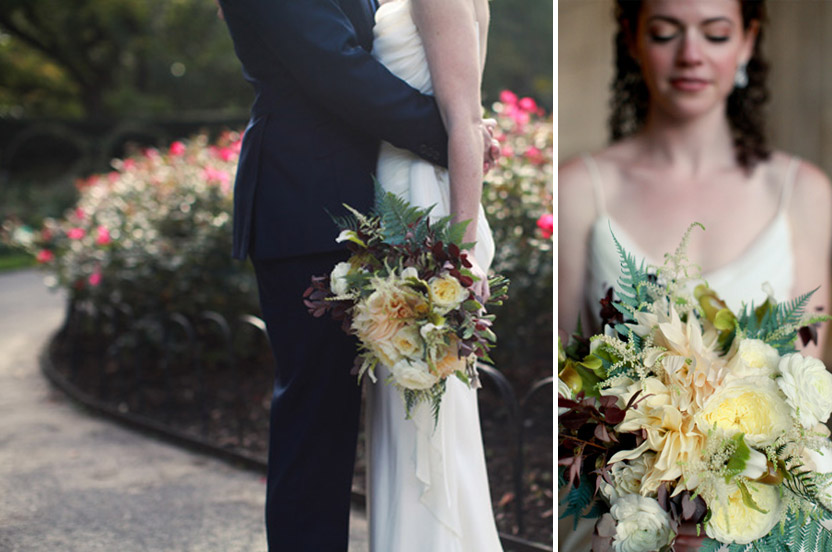 Earthy, organic flowers, branchy fall leaves and a knowing urbanity mark the tone of this autumn Brooklyn wedding.
