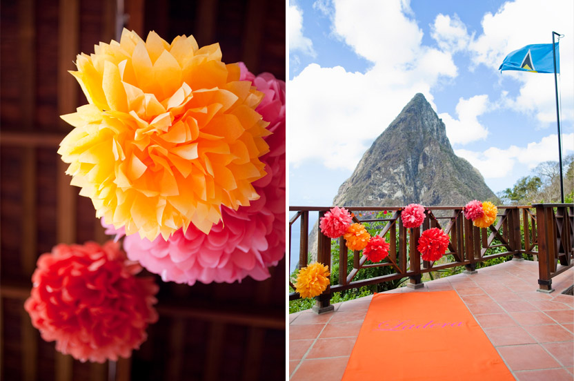 "The breathtaking ceremony backdrop is the island's famous volcanic ""Piton"". Nothing could compete with it, but a bit of tropical color added to the drama."