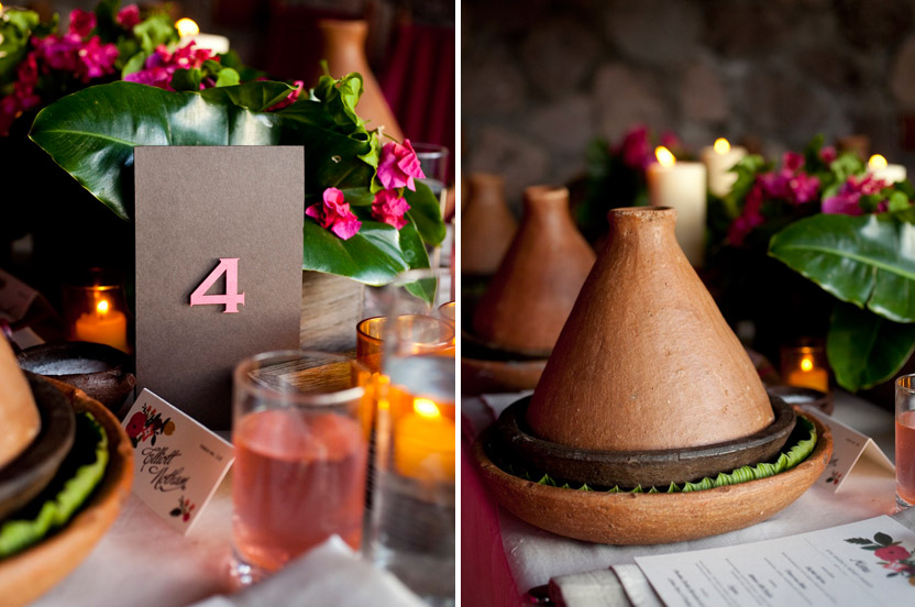 Three dimensional table numbers add a bit of polish to the rustic table. A main course served in the local tagine cooking pot was impressive.
