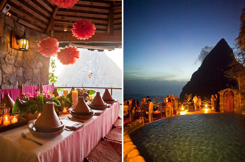 Adding a few tissue poms and pashminas in shades of pink created a festive atmosphere. The Piton at night – the perfect ending to a flawless event.