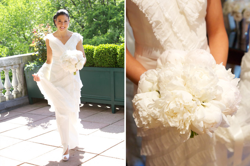 A venerable private club with a sunlit terrace overlooking Central Park set the stage for this classic wedding. The peony-filled bouquet mirrored the ruffles on the bride's dressing. Simply stunning.