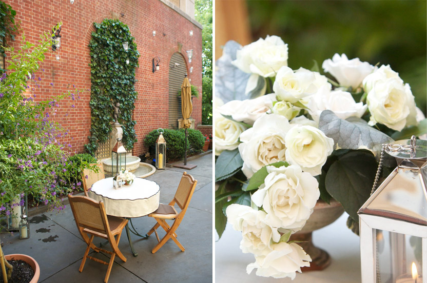 "This urban oasis is right on Fifth Avenue, just above the hustle and bustle of the street below. These sharp little cocktail tables have custom ""caps"" so that the linens don't blow off in a breeze. I adore these soft, creamy white roses."