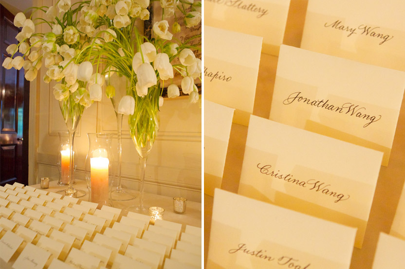 French tulips cascade over the neat escort cards. The simpler the display, the more care is required to have it look perfect.