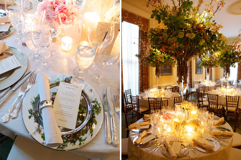 "The tall, branchy arrangements fill the room while leaving ""breathing"" space below for guests to chat across the tables."
