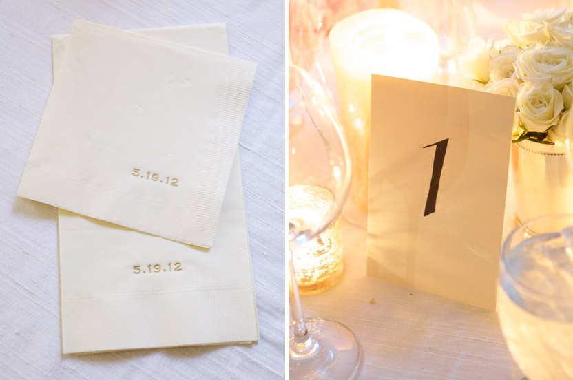 Although this wedding was understated, it was anything but simple.  Every detail was attended to, down to the powder room hand towels and the embossed cocktail napkins. Our signature menu card doubles as a place card with the guest's name hand lettered at the top. I take care to always have lovely table numbers as they provide a finishing touch to a gorgeous table.