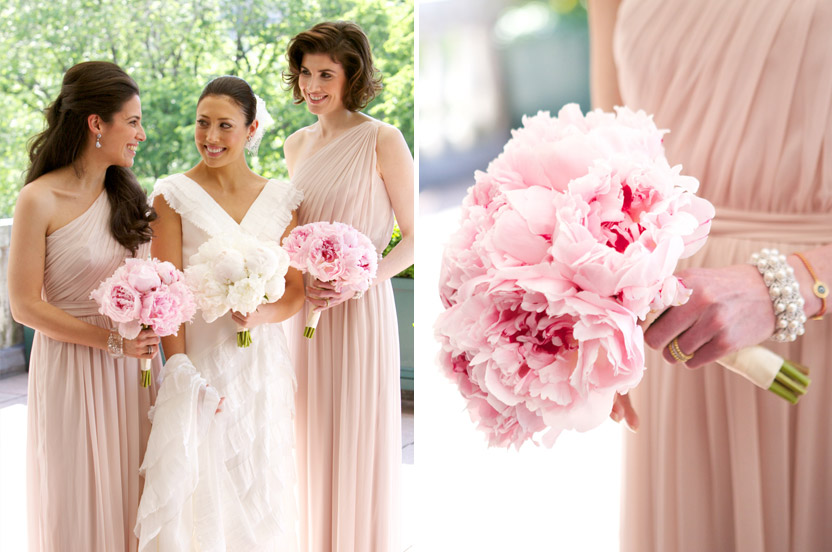 Bridesmaids wore Wedding Library gowns and held full-blown pink peony bouquets