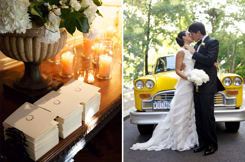 I sourced black grosgrain ribbon for the programs, we finished them off with my signature simple tie. My favorite old Checker cab was hired to sit in front of the club. After the ceremony it was there to whisk the couple off for pictures.