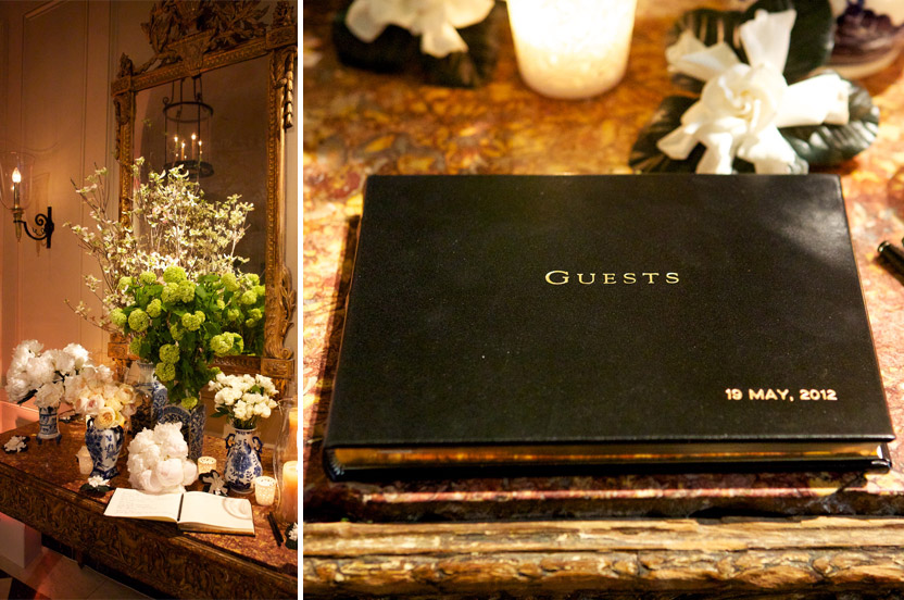 NYC eating clubs feel like magnificent turn-of-the-century homes. This foyer table welcomed guests in a grand manner. A classic Wedding Library gilt-edged guest book, personalized and paired with my preferred ink pens.