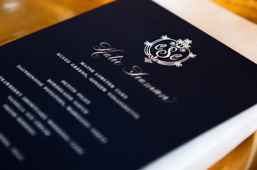"Navy menu cards with white ink ""popped"" at the table.  Hand lettered names allowed the menu cards to double as place cards, a Wedding Library hallmark."