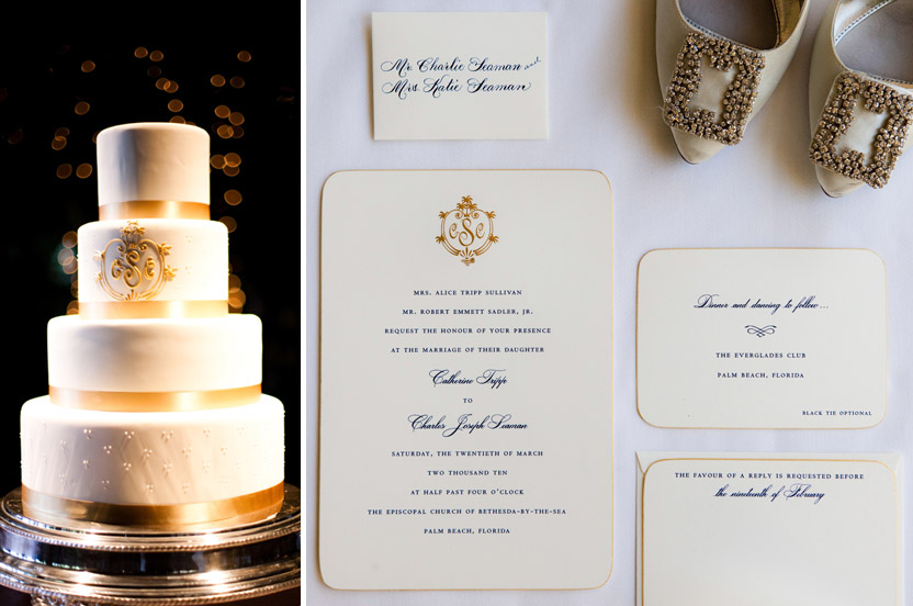 The bride's friend created the monogram, which I carried onto the cake, adding gold double-faced satin ribbon sourced in New York. The Wedding Library invitations are classic, and the navy and gold ink and edging let you know this isn't going to be an ordinary affair.