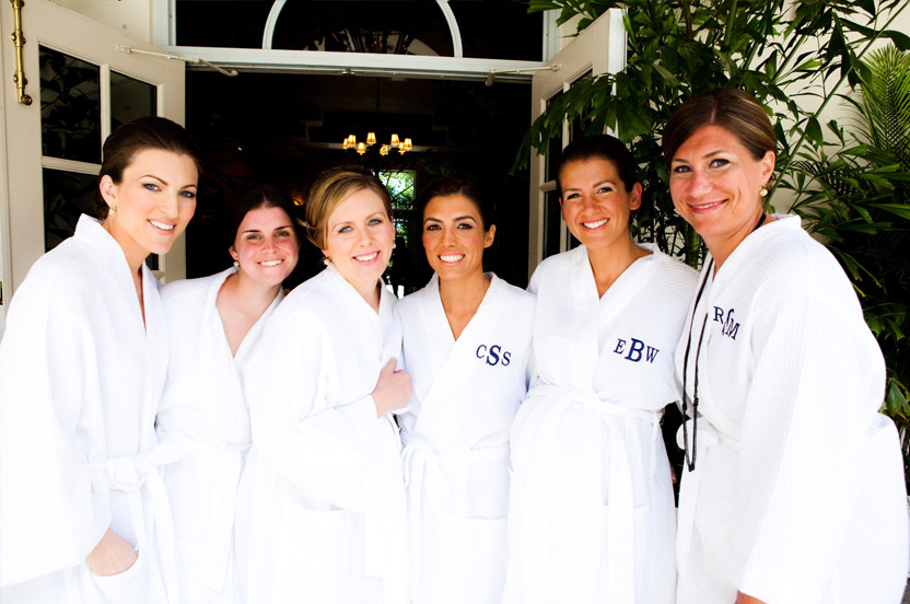 Even the bride's maids had matching robes before getting ready!