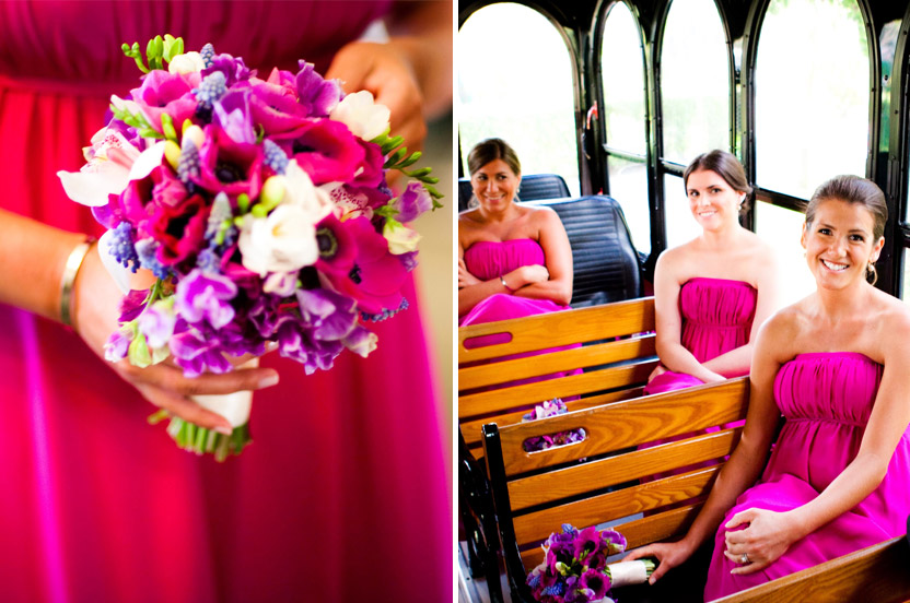 The bridal party wore Wedding Library gowns, and the bright pink worked well with the bouquets, the surrounding flowers and the hot climate. I arranged for trolleys to bring the bridal party to and from the church.