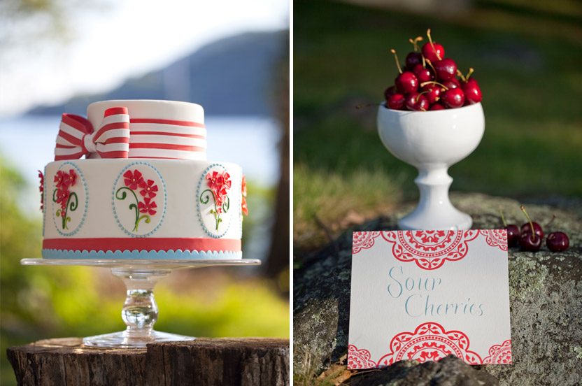 "I asked the baker to take inspiration from the invitation – she used the menu ""lozenge"" shape as a motif, and added her own flowers and ribbon. Cherries just had to be featured at this party, given the cherry hankie inspiration."