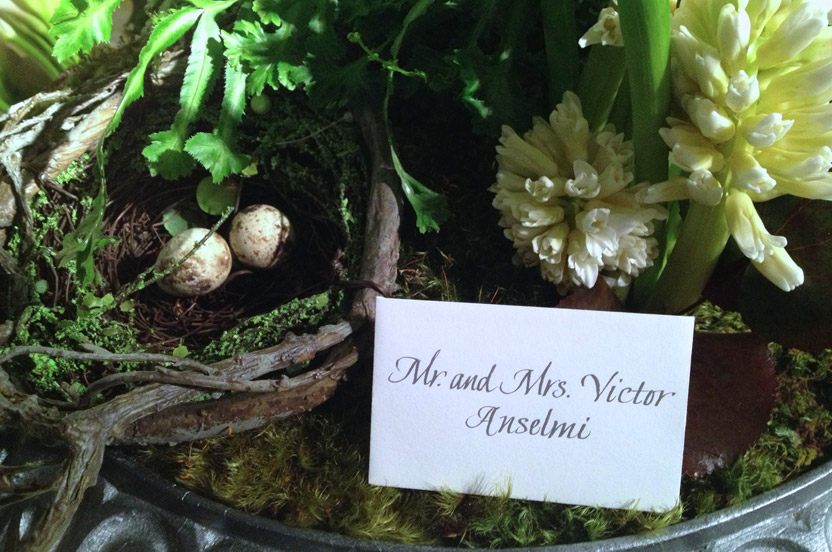 The escort card display was filled with little surprises, including these quail eggs!