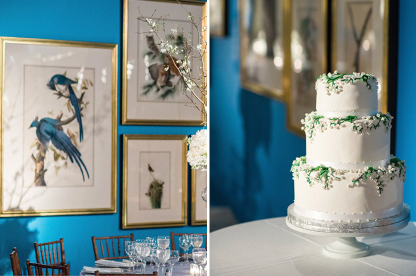 The brilliant blue on the exhibit's walls at first seemed a challenging design element, but ended up as a vibrant backdrop for the clean, springtime design. The bride's dear friend made the delicate wedding cake that we displayed for the evening.