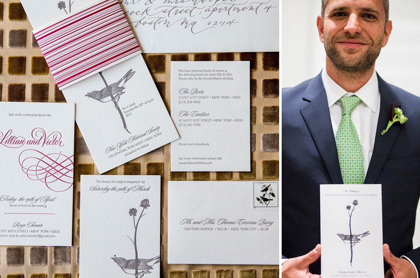 "The paperie hinted at the Audubon themed reception to come. Whimsical calligraphy and the crimson band helped make the elegant invitation ""pop"" as the couple wanted to make sure the invitation wasn't too formal."