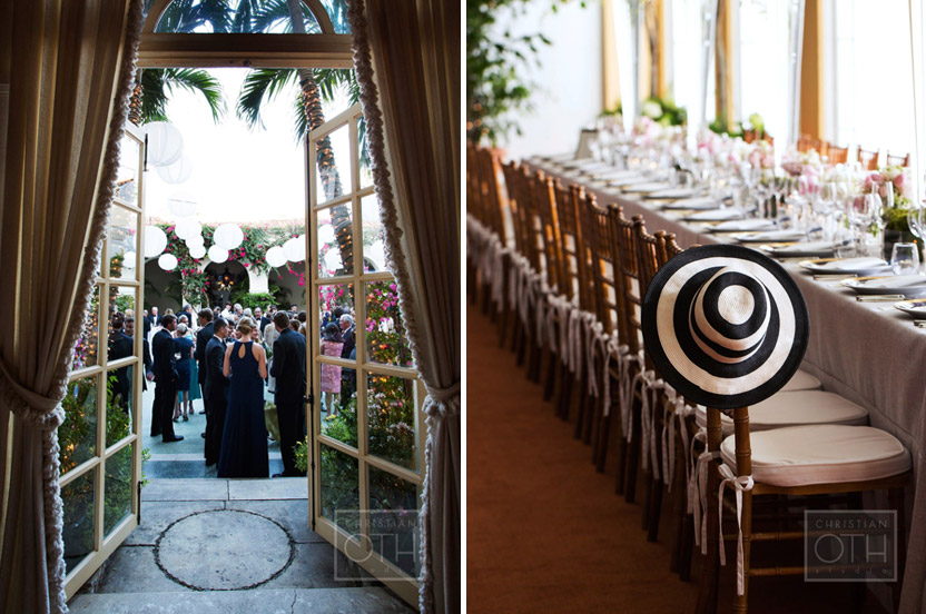 The outdoor cocktail party was enhanced by pretty floating lanterns, while indoors all was set for dinner. Subtly lush custom tablecloths add warmth and richness to the towering white arrangements and sweet posies on the tables.