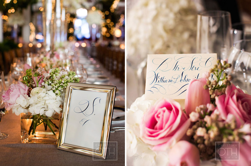 The extraordinary calligraphy for menus, escort cards and table numbers are a Wedding Library trademark.