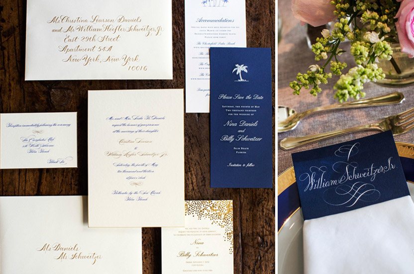 We worked with the bride on every piece of her stationery to keep the tone consistent – including the save the date sent a year before the wedding, the engagement invitation set in New York City and the gold and white calligraphy that pulled it all together.
