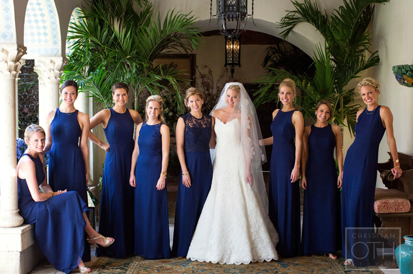 The bridal party's custom gowns complemented the bride and her maids.