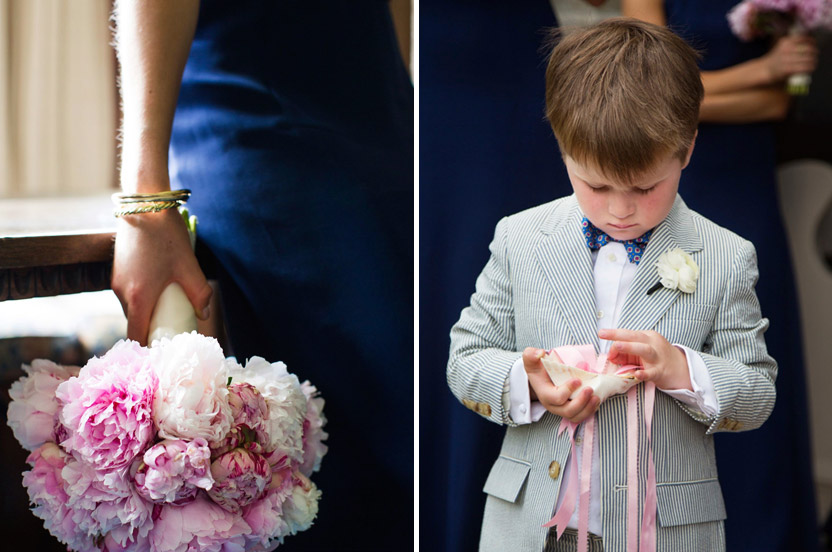 "The pop of peony pink looked lovely with the navy dresses. The bride's mother fashioned a shell ""ring pillow"" for the curious ring bearer."