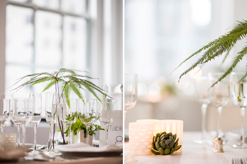 A variety of vases, greens, floating candles and succulents created an ever-changing tableau for guests.