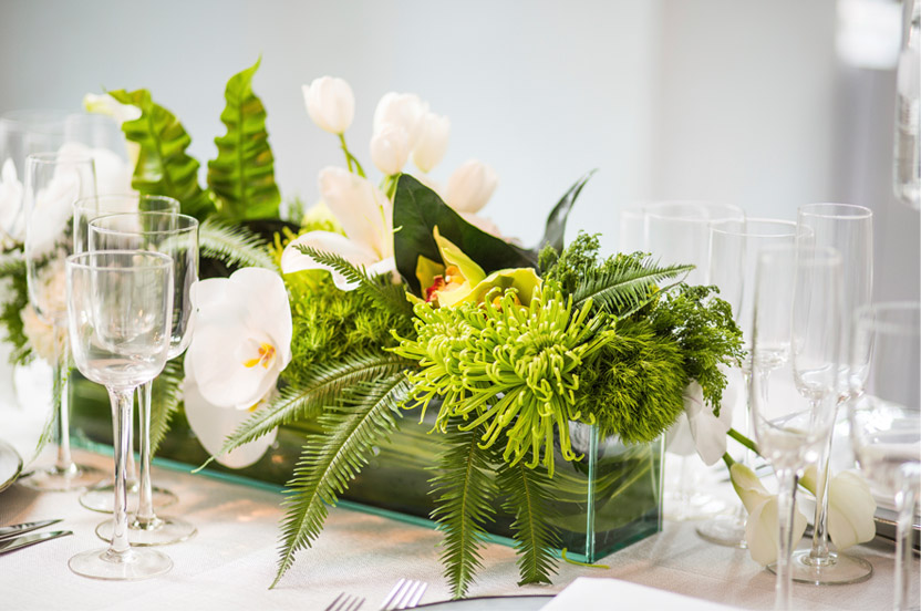 The use of unexpected flowers, textures and shades of green and white were important to keep the look interesting and vibrant.