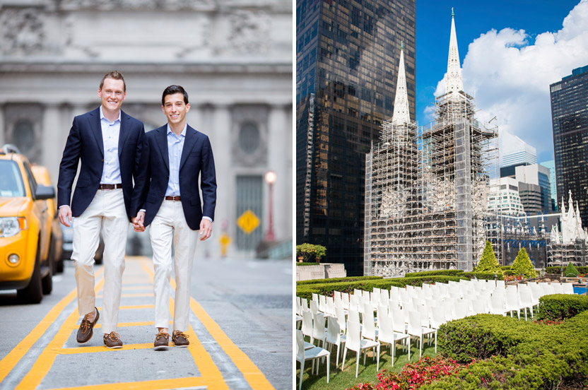 You can't get a better sense of New York than from the middle of Park Avenue or a better ceremony backdrop than from a rooftop at Rockefeller Center. All that was needed were these clean Bellini chairs to set the stage.