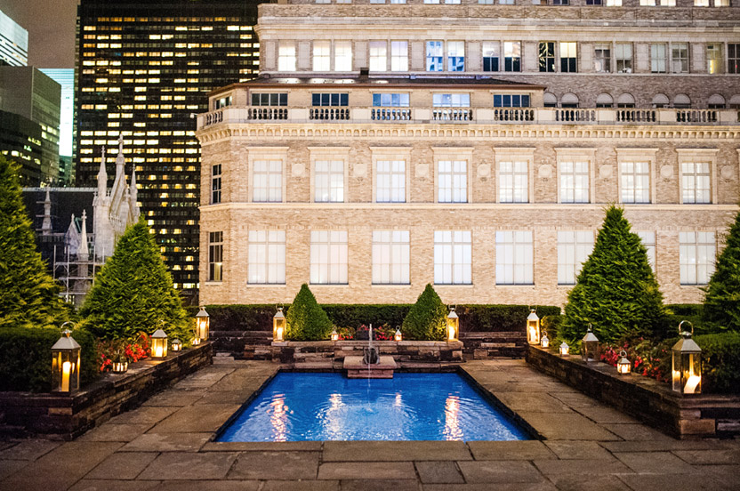 The reflecting pool looks magical with Saks Fifth Avenue as its backdrop. The outdoor terrace (and erstwhile ceremony site) is ready for the after-party guests.